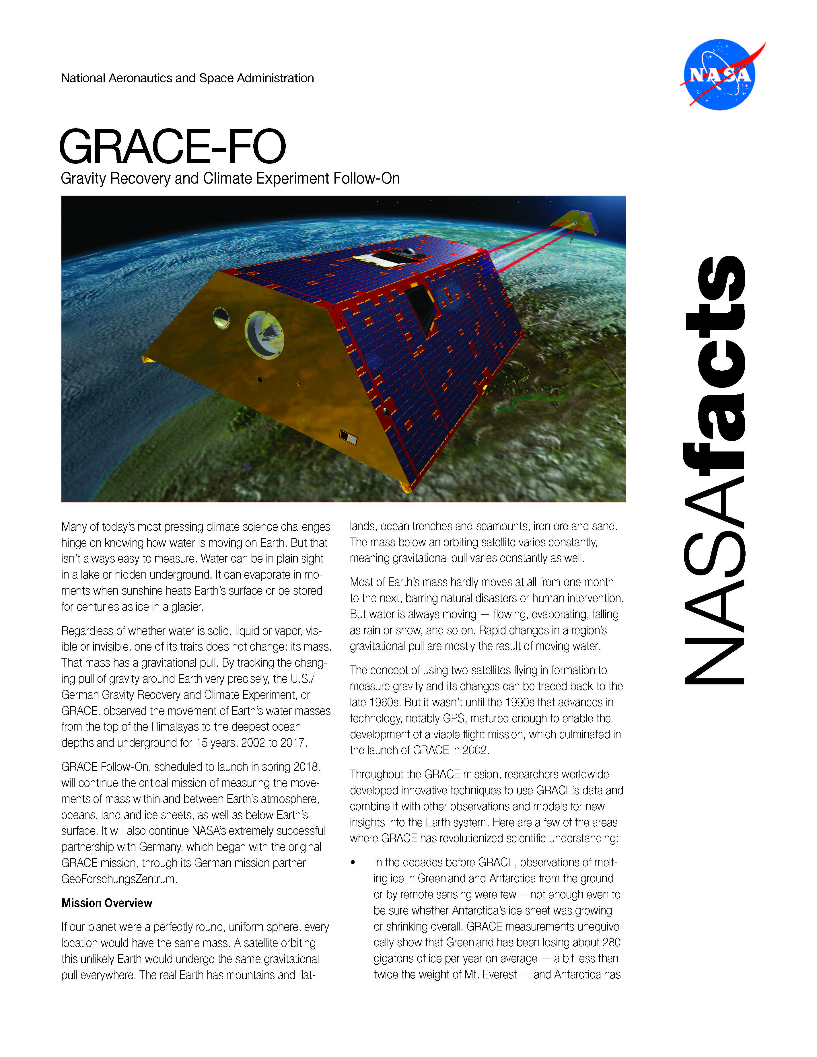 GRACE-FO Fact Sheet