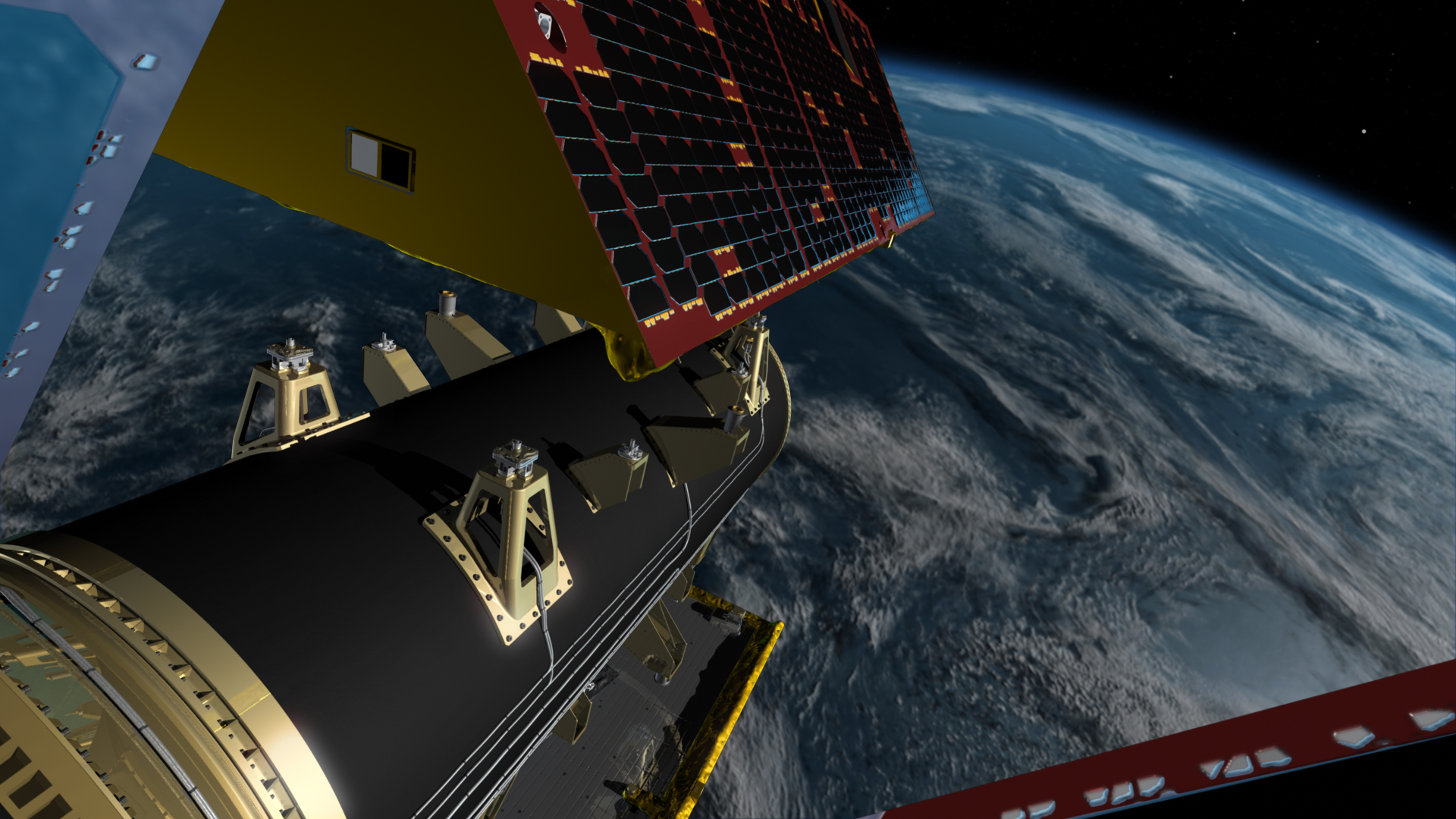 One of the GRACE-FO satellites separates from a spacecraft dispenser over Earth