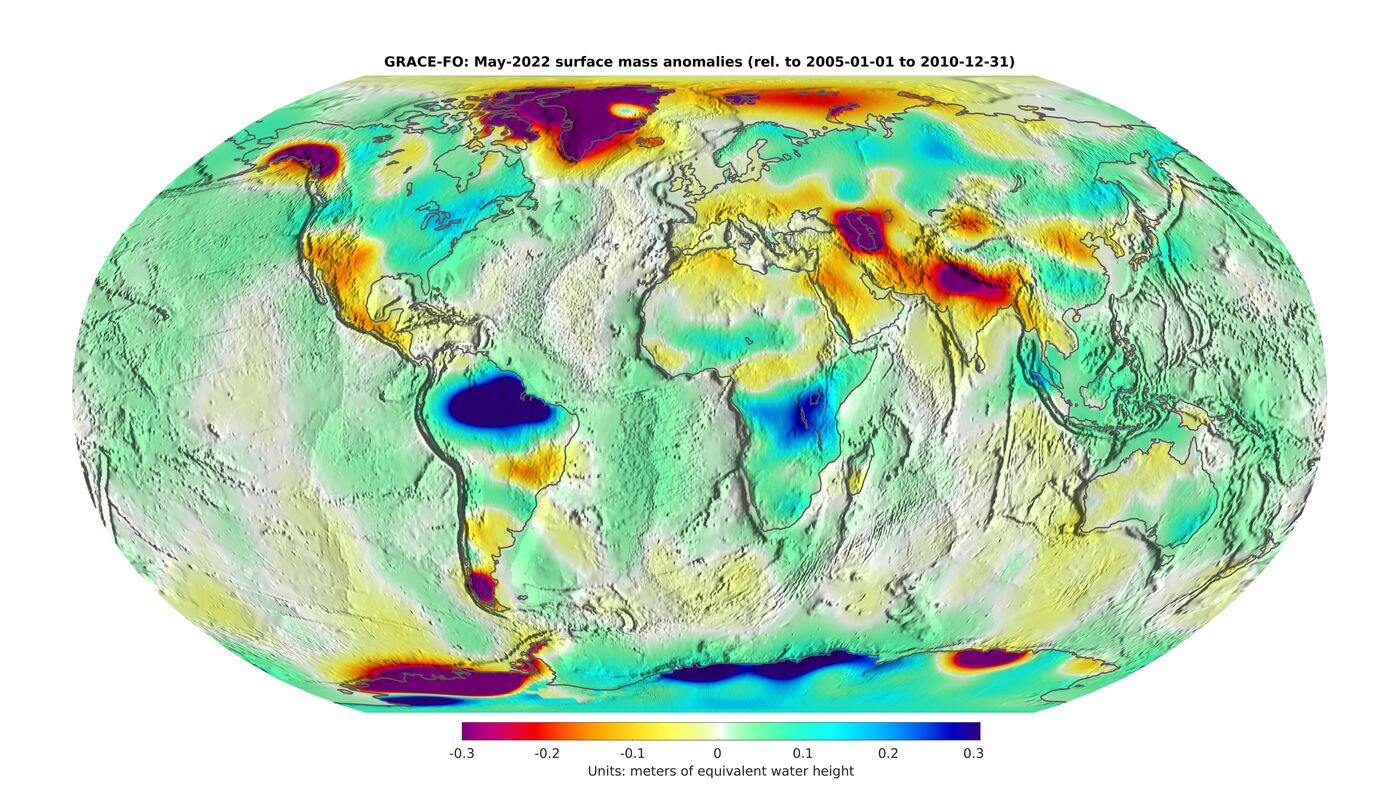 GRACE-FO global observations of month-to-month surface mass changes, 16 June 2021 release from NASA Jet Propulsion Laboratory (JPL)
