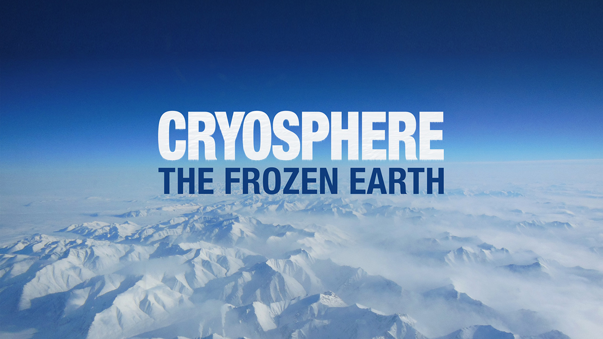 The word Cryosphere appears under a blue sky and a filed of ice.