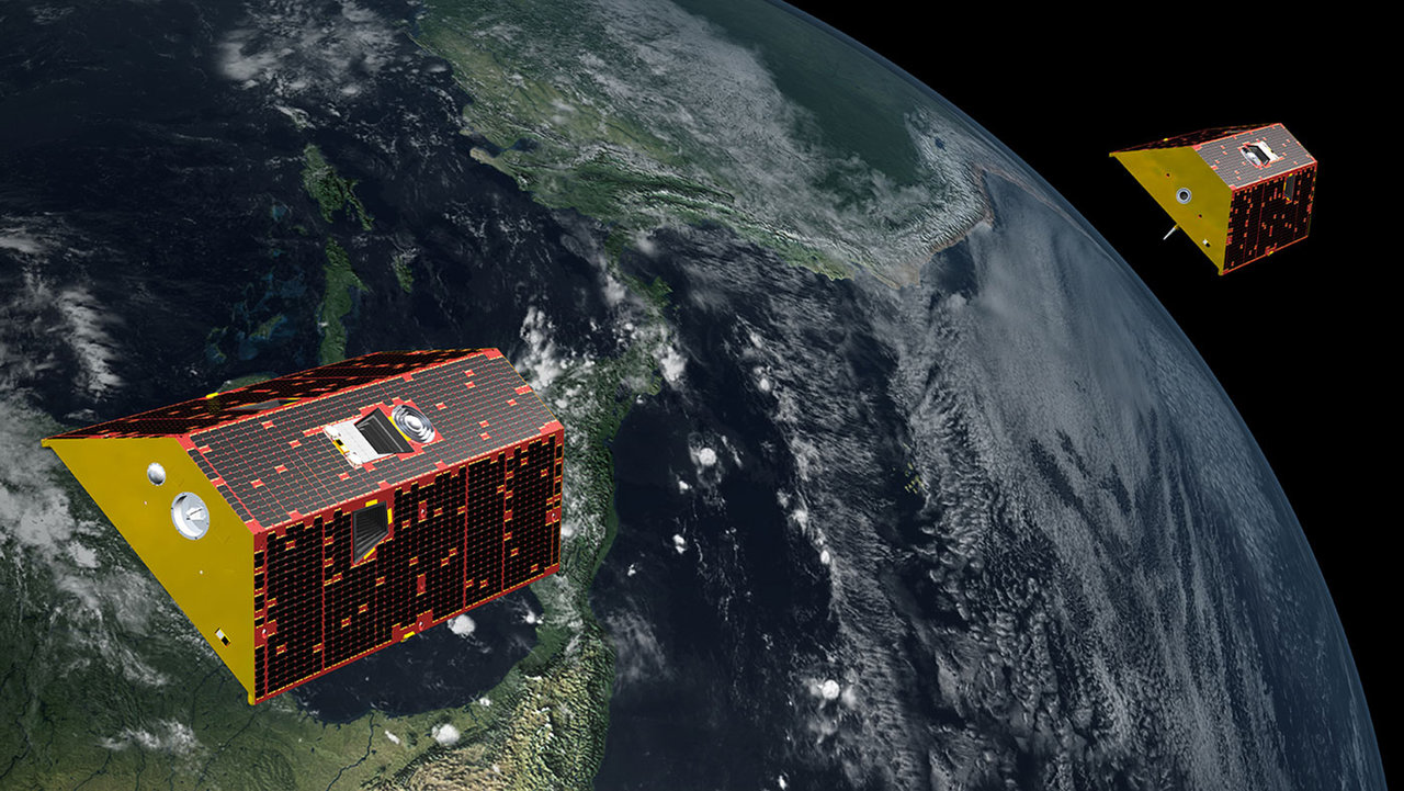 Artist's illustration of the NASA/German Research Centre for Geosciences Gravity Recovery and Climate Experiment Follow-On (GRACE-FO) mission, which will track changes in the distribution of Earth's mass, providing insights into climate, Earth system processes and the impacts of some human activities.