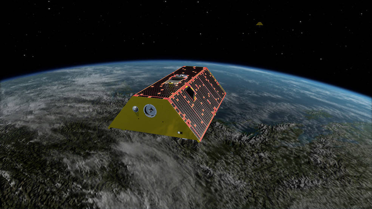 Illustration of the Gravity Recovery and Climate Experiment Follow-On (GRACE-FO) mission. GRACE-FO tracks the evolution of Earth's water cycle by monitoring changes in the distribution of mass on Earth. Credit: NASA/JPL-Caltech