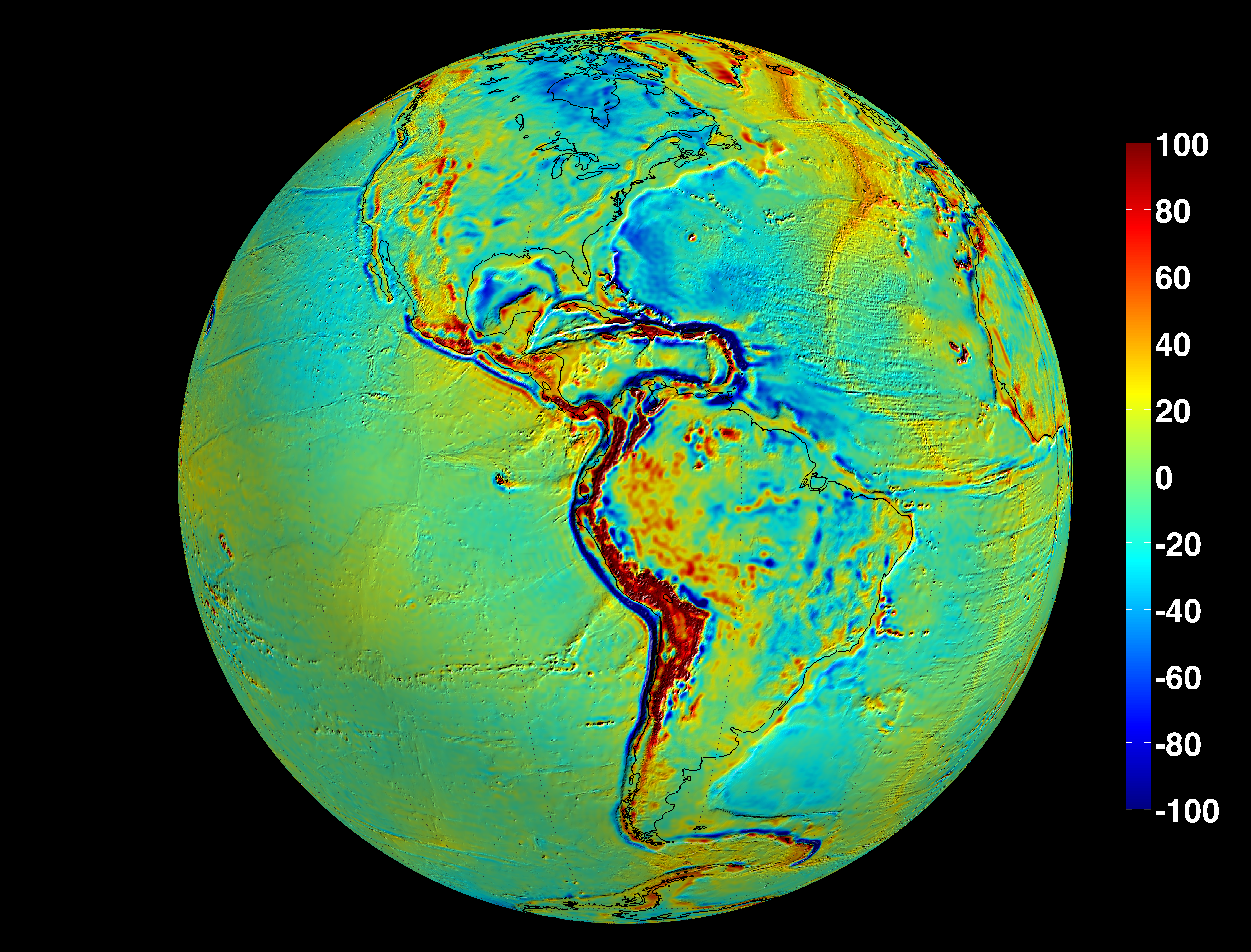 The GRACE Intermediate Field 48 (GIF48 from UT-CSR) field model is an improved mean gravity field that combines GRACE observations and terrestrial gravity information The terrestrial gravity information was taken from the DTU10 global gravity field.  Shown here are the so-called free air gravity deviations from an ideal ellipsoidal Earth model, in units of milli-gal. Areas colored yellow, orange, or red are areas where the actual gravity field is larger than the featureless-Earth model predicts, while the progressively darker shades of blue indicate places where the gravity field is less.