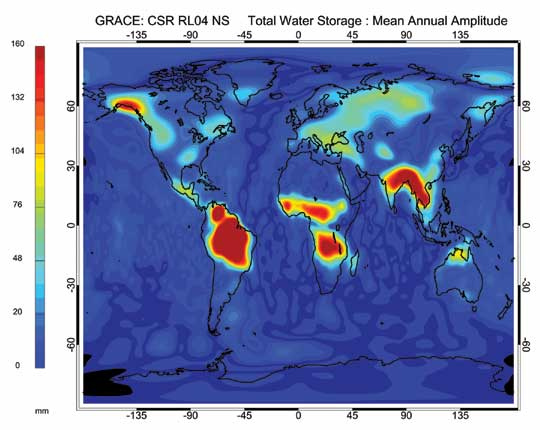 This image shows the mean annual amplitude of total water storage on Earth in 2007 as measured by GRACE.