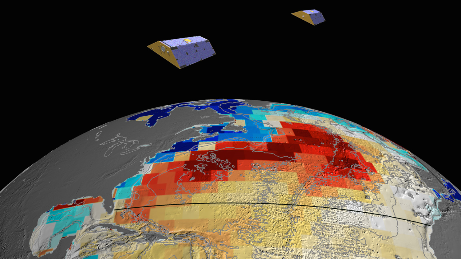 GRACE-FO will measure Atlantic Ocean bottom pressure as an indicator of deep ocean current speed, as GRACE did. This pattern of above-average (blue) and below-average (red) seafloor pressure in 2009 GRACE data revealed a temporary slowing of deep ocean currents.