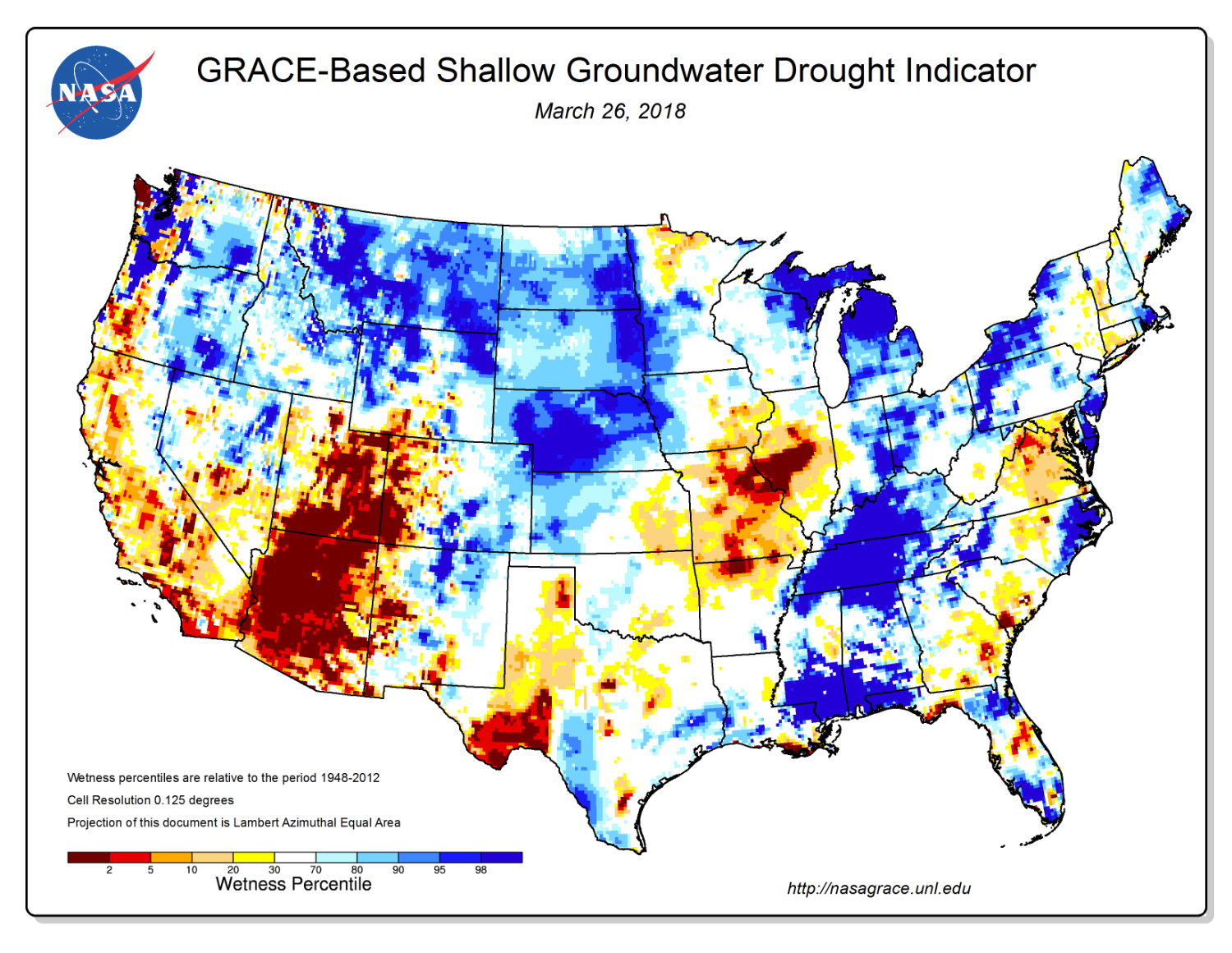 While the GRACE mission was active, scientists at NASA's Goddard Space Flight Center generated groundwater and soil moisture drought indicators like this every week from GRACE data on terrestrial water storage and other observations, using a numerical model of land surface water and energy processes.
