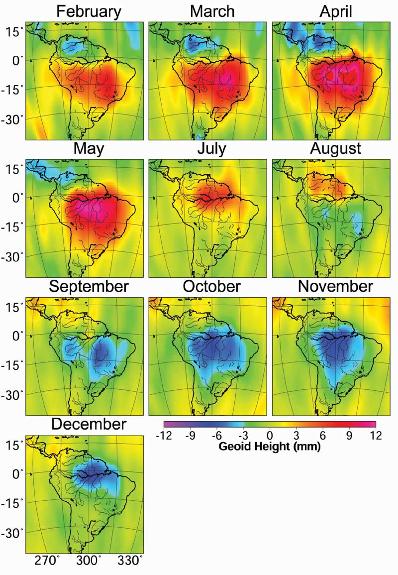 The rainy and dry seasons in the Amazon Basin in 2004, revealed by gravity anomalies observed by GRACE. Reds and pinks show where and when mass was higher than average, a sign that more water was present, and blues show months when mass was lower.