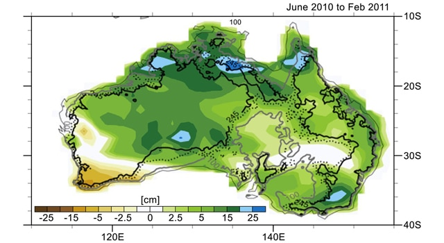 Changes in Australia's mass observed by GRACE in 2010 and 2011. Areas in greens and blues had the greatest increases in mass, caused by unusually high precipitation connected with a large La Niña event.
