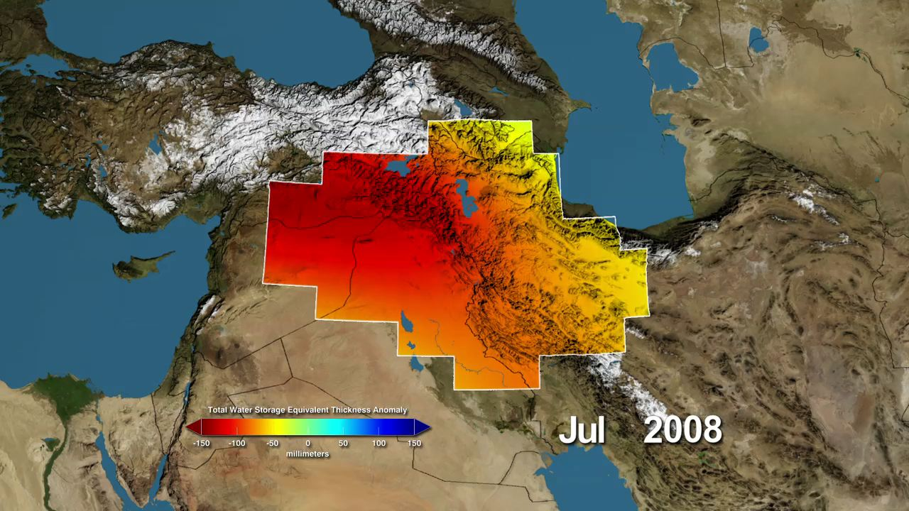 Variations in water storage in the Tigris and Euphrates river basins from 2003 to 2009, measured by GRACE. Reds represent drier conditions, while blues represent wetter conditions. The majority of the water lost was due to reductions in groundwater caused by human activities.