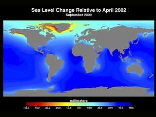 Cumulative Sea Level Change 2002-2015